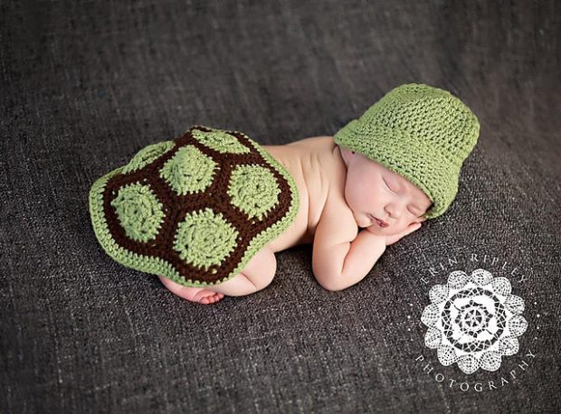 Turtle Shell and Hat Newborn Photo Prop by First Twin Company
