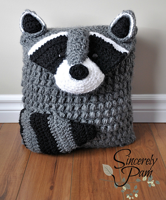 Ringo Raccoon Pillow Cover by Sincerely Pam