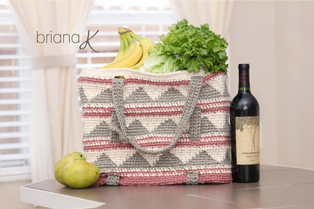 Beach Pool Grocery Tote Bag by Briana K Crochet