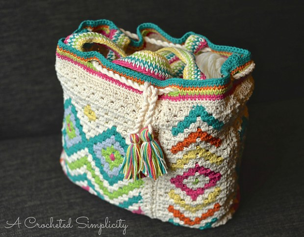 Boho Chic Mosaic Tote Bag by A Crocheted Simplicity