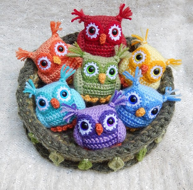 Nesting Rainbow owls by Moji-Moji Design