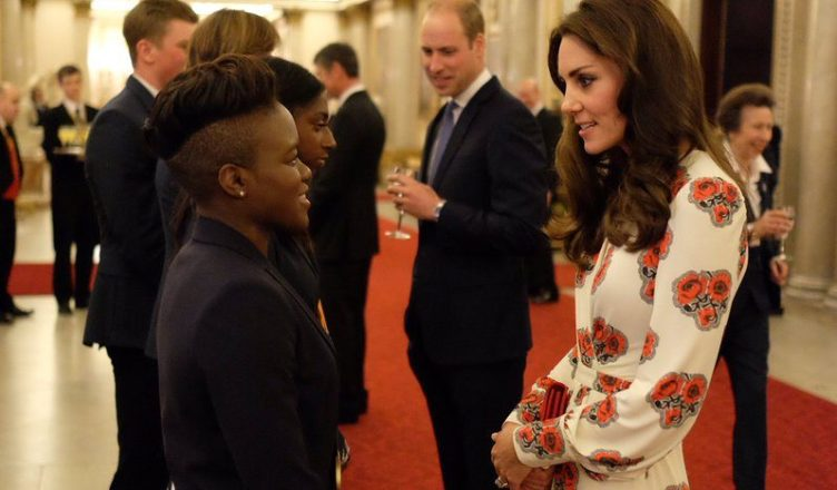 William and Kate, Duke and Duchess of Cambridge, chat to medal winners including boxing star Nicola Adams (@Kensington Palace)