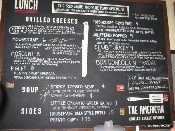 American Grilled Cheese Menu