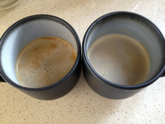 Safeway Select Kona on Left, Blue Bottle Roman Espresso on Right