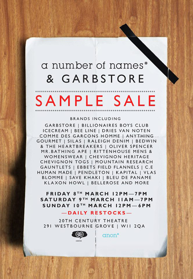 A-Number-Of-Names-Garbstore-Sample-Sale-Flyer