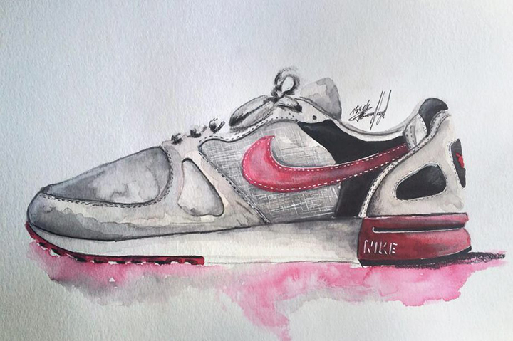 Nike sneaker watercolour painting by Achildcolor 001