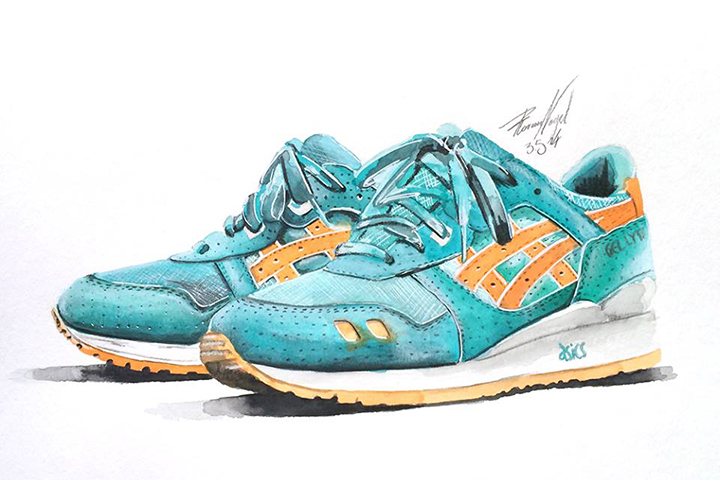 Ronnie Fieg Asics sneaker watercolour painting by Achildcolor 001