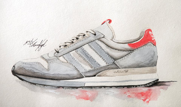 adidas Originals ZX sneaker watercolour painting by Achildcolor 001