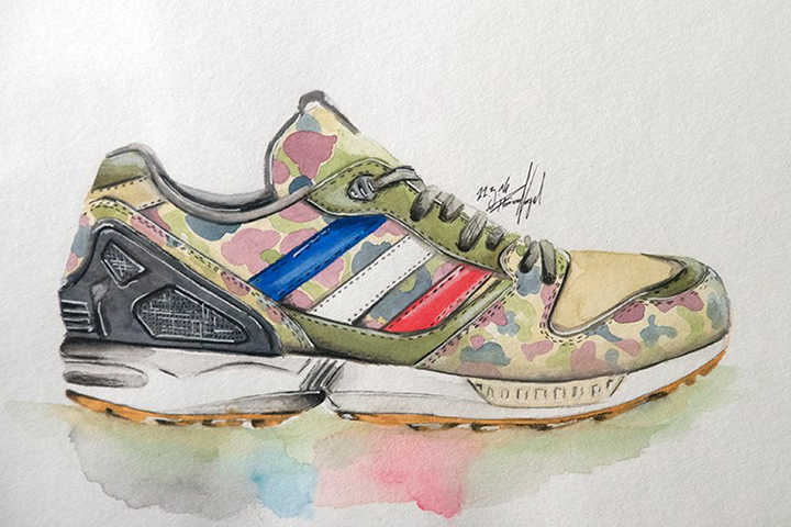 adidas Originals ZX sneaker watercolour painting by Achildcolor 002