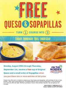 FREE Queso and Sopapillas at On the Border