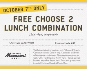 Coupon: Free lunch at Macaroni Grill 10/07/11 only