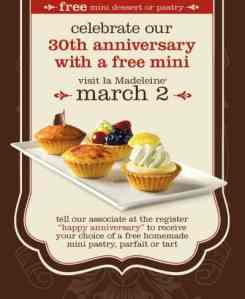 la Madeline Offers Free Pastry to Celebrate their 30th Anniversary