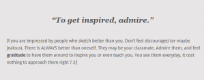 To get inspired, admire