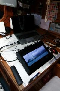 Ben desk in the boat