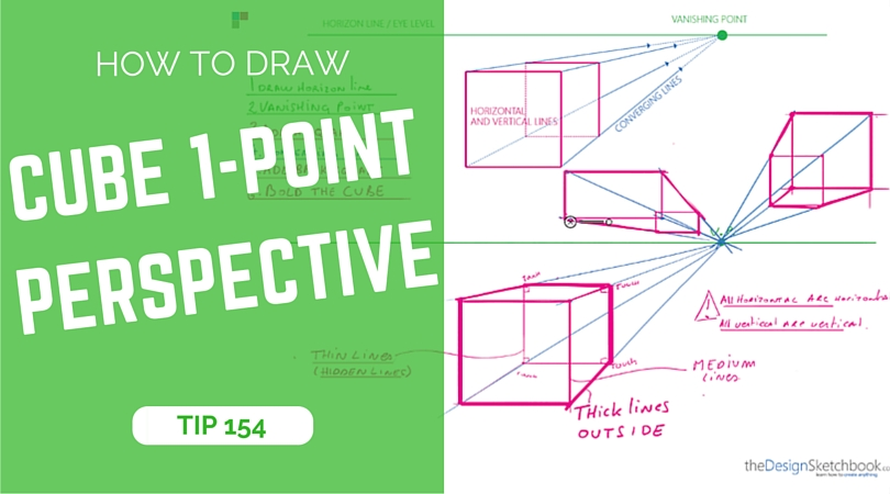 TIP 154 How to draw a cube with 1-point perspective - the design sketchbook - Product and industrial design sketching