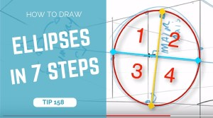 TIP 158 How to draw ellipses in perspective in 7 steps - The design sketchbook - product and industrial design sketching tutorial blog