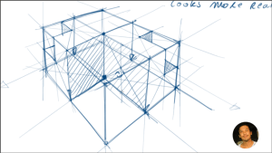 cube division 3 point perspective design sketching