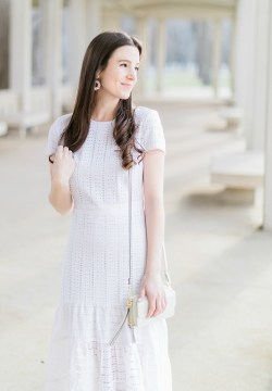 Peaceably Easter Brunch Outfit Banana Republic Let Midi Dress Bysourn Fashion Blogger Stephanie Easter Brunch Outfit Banana Republic Let Midi Dress