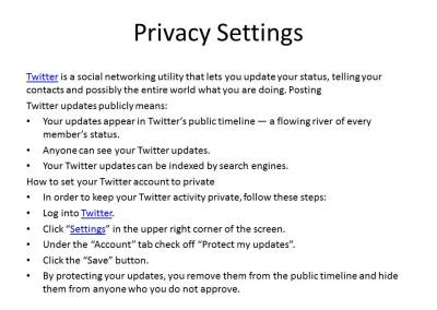 Privacy settings on Twitter