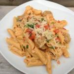 Cajun Penne Pasta with Chorizo Chipotle BBQ Sauce