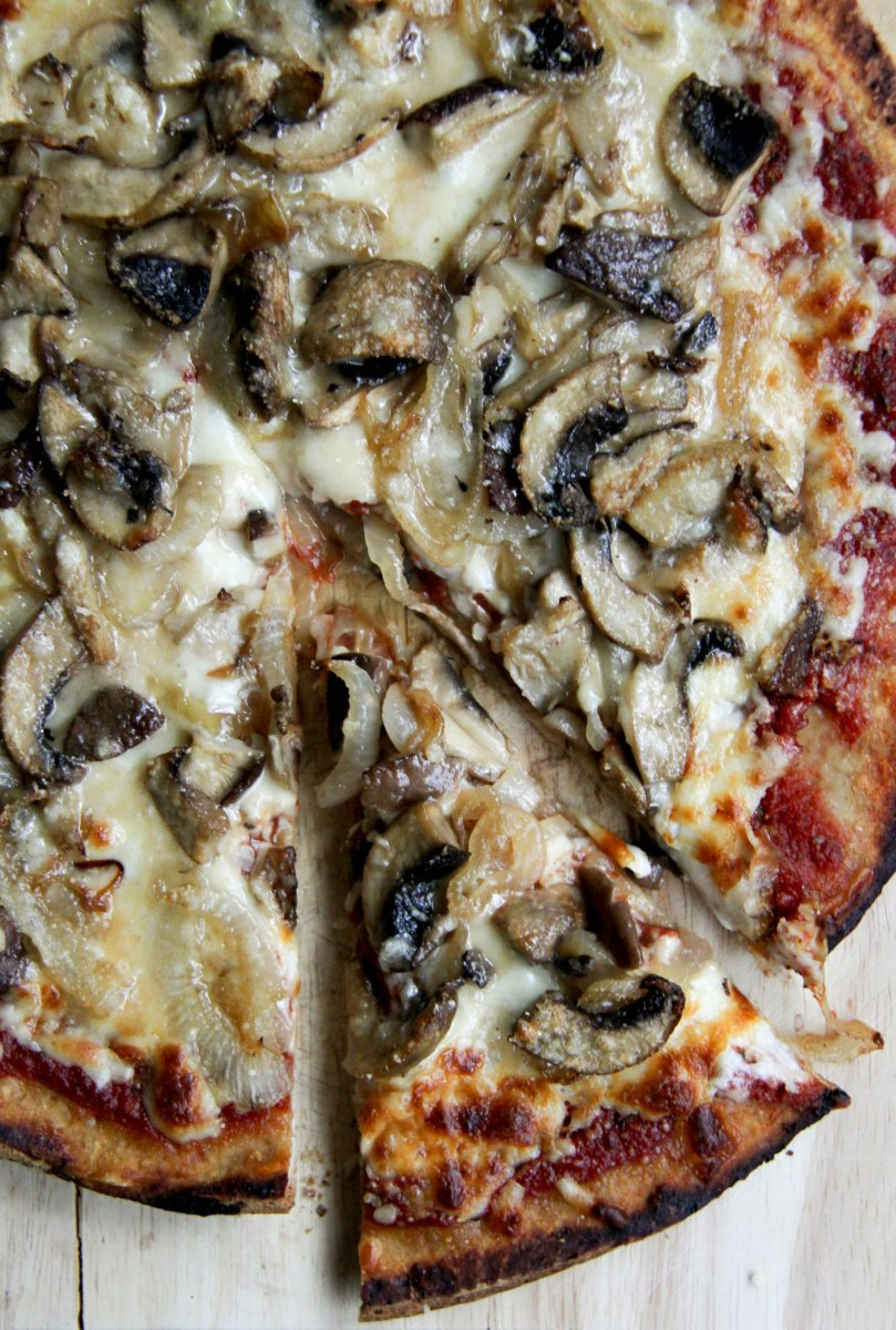Mushroom + Onion Pizza with Simple Tomato Sauce
