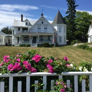 I think this is a B&B set back from the road. Beautiful, isn't it? Imagine the bay views from the bedrooms and front porch!