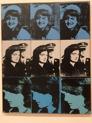 Nine Jackies (acrylic, oil, and screenprint on linen), 1964, by Andy Warhol.