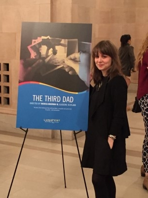 Director Theresa Moerman Ib by her film poster.