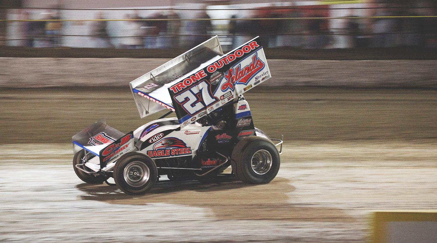 Hodnett scored his first career WoO feature win at Battleground Speedway in Highlands, Texas | Photo: Jeffrey Turford