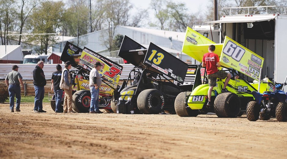 Prepping the cars for ASCoC at Selinsgrove—right to Left; no.60 Kory Crabtree, no.13 Tim Shaffer; no.3Z Brock Zearfoss.
