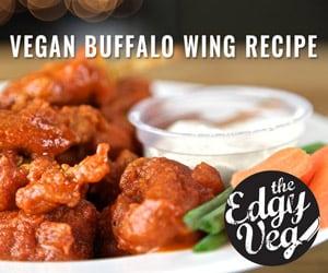 Vegan buffalo wing recipe ad