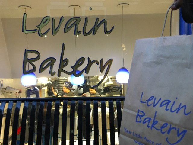 A bag full of the infamous six pound cookies Levain Bakery has to offer.