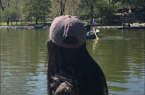 Birjot Kaur admiring view of Central Park from boat.