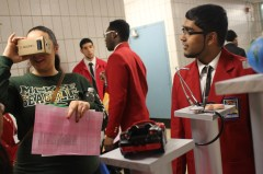 Zafar Seenauth demonstrating his Virtual Reality Glasses during a SkillsUSA event.