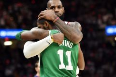 Old team mates Kyrie Irving and Lebron James hug it out after the Boston Celtics and Cleveland Cavaliers battle it out. Photo Credit: USA Today
