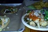 Bottom Right- Cauliflower Brussels AVO Bowl $11, Bottom Left- Rastaman Taco $4, Top Right- Chips and Guacamole with Mango Salsa- $6, Top Left- Ami Shroomer Taco- $4 Credit: Harmeet Minhas