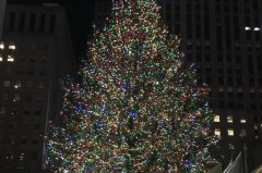 Caption: Photo of the famous Christmas tree at Rockefeller Center