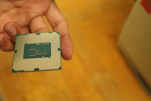Caption: The average desktop cpu chip can be held at your finger-tips and installed by the user with ease. The current clock speed for consumer pc's is around 1.5 to 2.5 GHz Credit: Matthew Moore