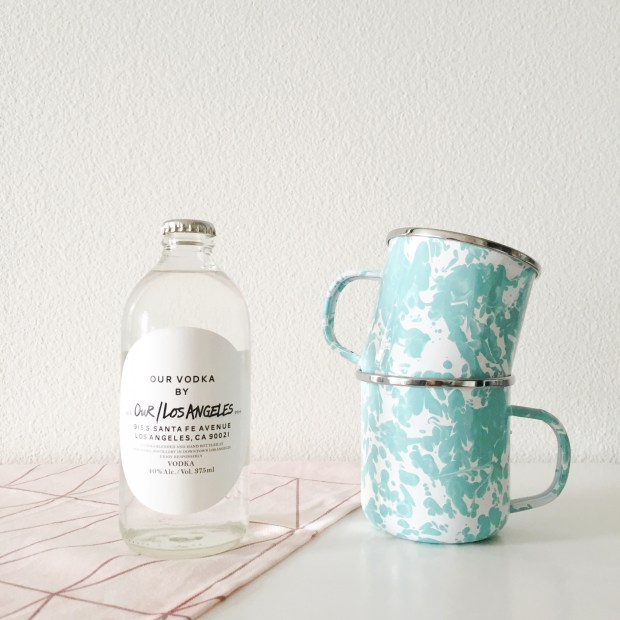 Our/Los Angeles Vodka bottle and enamel cups