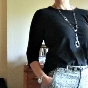Patterned Pants, Stainless Steel necklace - What I Really Wore, Fashion Over 40