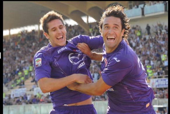 Fiorentina's strike force - Stevan Jovetic and Luca Toni