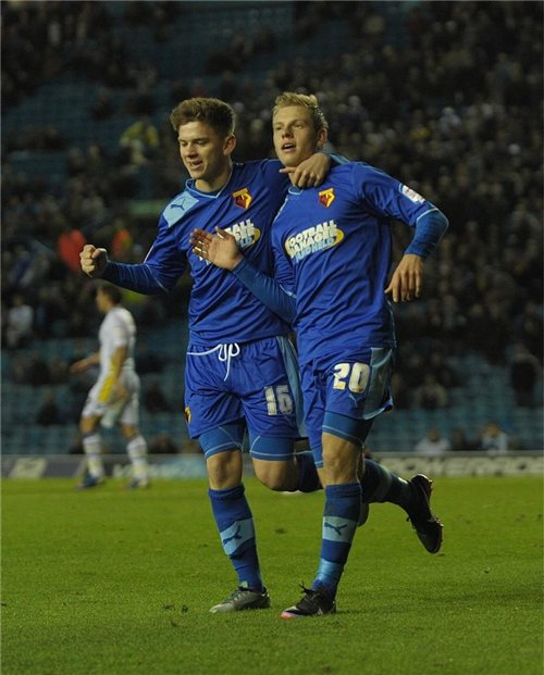 High point: Matej Vydra celebrates yet another goal on a dark day for Leeds United