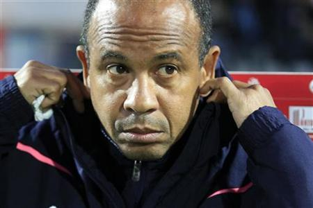 Bordeaux coach Jean Tigana attends their French Ligue 1 soccer match against Lille at Lille Metropole Stadium