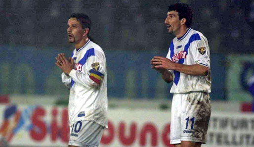 In sync: Roberto Baggio and Dario Hübner at Brescia