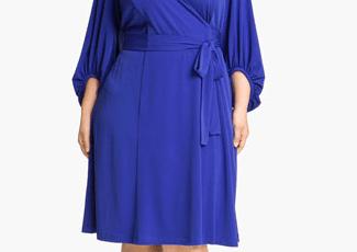 Donna Ricco Plus Size Faux Wrap Jersey Dress