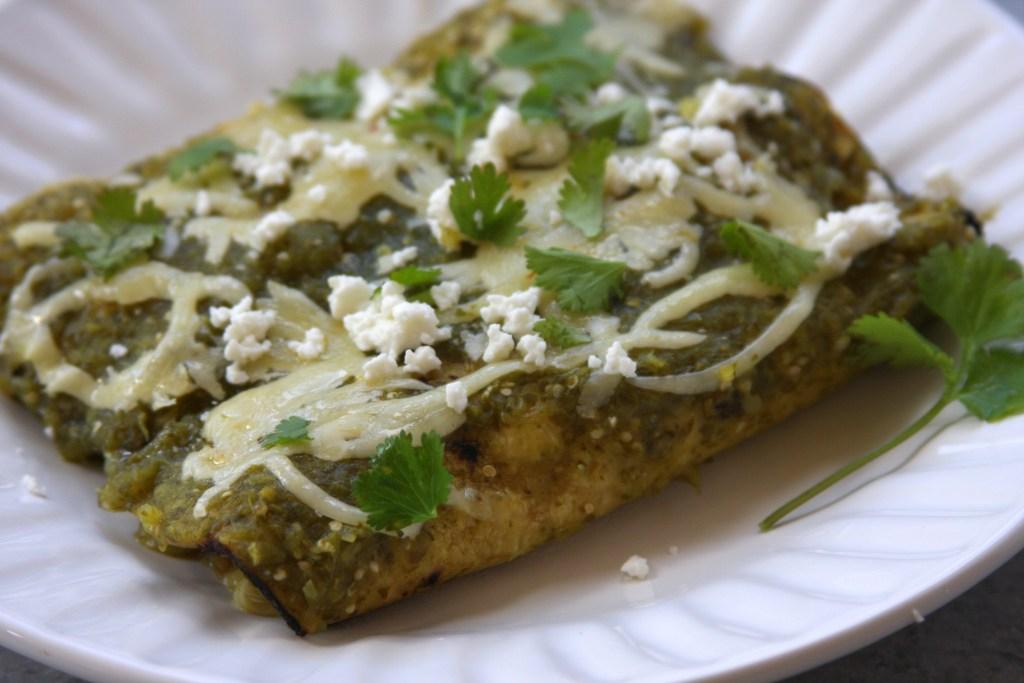 Lightened Up Salsa Verde Chicken Enchiladas - The Fed Up Foodie