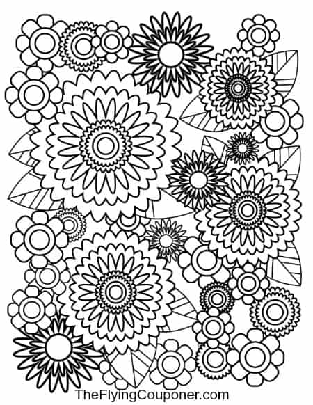 Colouring pages for adults and kids. Flowers.