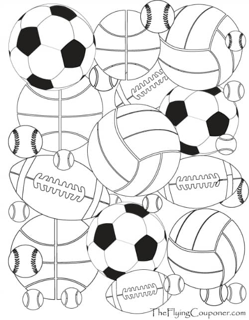 Colouring Pages for Adults and Kids. Sport Balls.