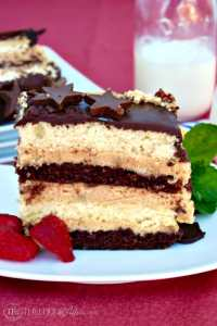This Peanut Butter Mousse Cake has multiple cake layers with a peanut butter filling and then topped with ganache! Decadent dessert for any special occasion! The Foodie Affair