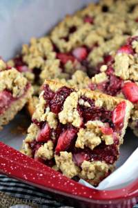 Strawberry Oat Bars with chia seed jam without refined sugar. These bars are a tasty snack, breakfast bar or afternoon pick me up! The Foodie Affair
